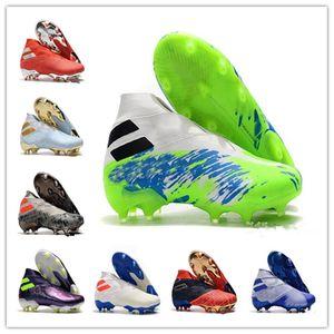 Messi Nemeziz 19+ FG Mens High Top senza lacci Scarpe da calcio Active Red Chrome tacchetti scarpe impermeabili di calcio del terreno compatto