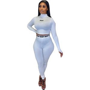 Women Sport Clothing 2 Pieces Casual Letter Long Sleeve Skinny High Waist Sexy Fitness Women Tracksuits