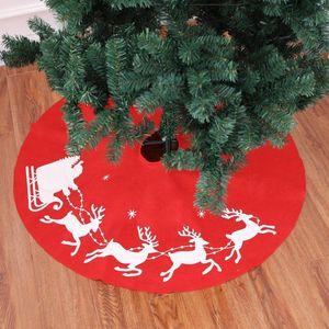 Cesta de Navidad ciervos Árbol falda del árbol de navidad delantal alfombra arpillera roja Pata de la Base de la falda de la decoración Elk redonda Alfombra 100cm J