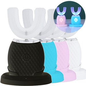 360 درجة سونيك فرشاة الأسنان الكهربائية USB قابلة لإعادة الشحن التلقائي بالموجات فوق الصوتية فرشاة الأسنان 4 وضع تدليك اللثة تبييض الأسنان فرشاة