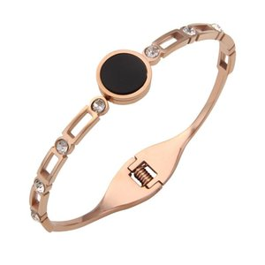 New female lovers titanium steel fashion jewelry accessories bangle rose gold bracelet black round concise wristlet jewel women