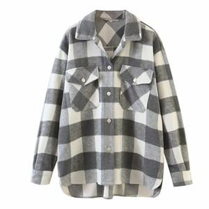 Рубашки высокого качества женщин с длинным рукавом Мода Повседневная Стиль Толстые Осень Зима теплая шерстяная рубашка Женщины Outwear плед многоцветный Размер Xs S M