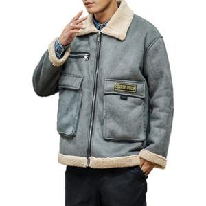 Plus Size Mens Jacket Winter Warm Jacket Men Turn Down Collar Fashion Hip Hop Jackets Streetwear Thick Lamb Coat