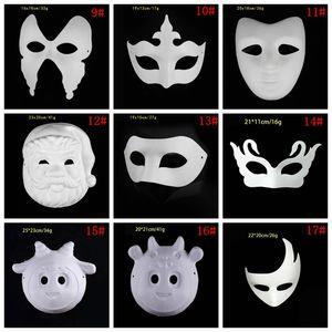 Лучший DIY маска Ручная роспись Хэллоуин белый маска Зорро Корона Бабочка Blank Paper Mask Masquerade партии Cosplay маски DBC BH3980