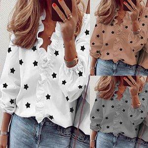 2020 V-cuello nueva Europa y América del estilo de las mujeres de manga larga blusas de mujer volante de impresión de las estrellas camisas 5 colores del tamaño S-3XL