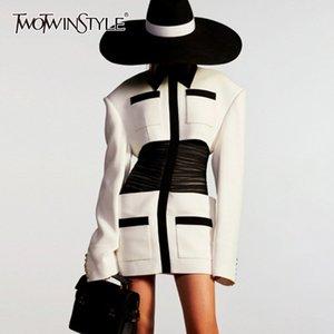 TWOTWINSTYLE eleganter Patchwork-Frauen-Kleid-Revers-Kragen Langarm-Tunika Mini Hit-Farben-Sommer-Kleid weibliche Mode Kleidung