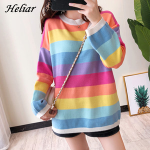 Heliar Autumn Winter Rainbow Stripe Sweater New INS Knit Sweater Long Sleeve Relaxed Lazy Style Women O Neck Pullovers T200815