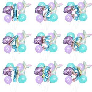 7 ПК / Mermaid Birthday Party Balloon Номер Balloon Decor 0-9 Алюминиевая фольга Birthday Party Balloon Supplies EWC989
