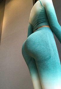 أزياء المرأة Gtadient اليوغا السراويل عالية الخصر الجوارب سروال تشغيل ياقة الجمنازيوم اللباس 2020 مصانع جديدة النشطة الملابس الجديدة