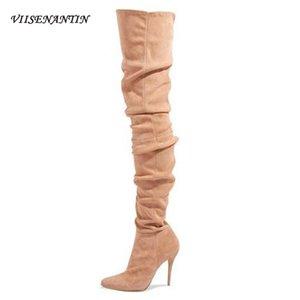 VIISENANTIN 2020 Winter-Catwalk Super High-Heel Overknee Leder Velvet Stiletto elastische Strümpfe Stovepipe Stiefel