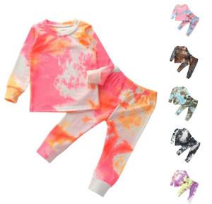 Outono criança garota laço tintura boutique roupa roupa christmas miúdo casual camiseta top + calças 2 pc tracksuit crianças conjunto vestuário por1585