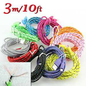 300pcs 1M 2M 3M Fabric Braided Data Charger Charging Cable Wide Fiber Nylon Fabric Woven Cord Lead Samsung from alisy