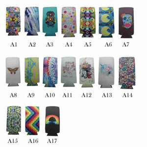 12oz Slim Can Beer Insulators Neoprene Beverage Cooler Collapsible Cola Soda Bottle Koozies Rainbow Butterfly Owl Can Sleeve CYZ2631 100Pcs