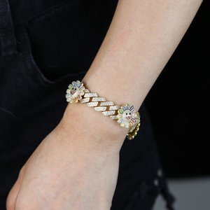 2020 fashion gold color rainbow flower charm hip hop bracelet bling happy Day smile girl Cubic zirconia luxury fashion bracelet