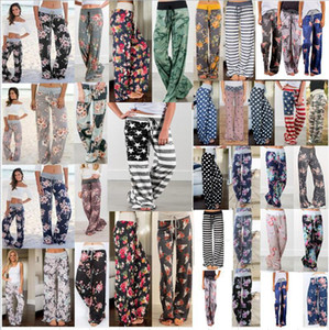 Kadınlar Çiçek Geniş Bacak Pantolon 39 Stiller Yüksek Bel Yoga Palazzo Pantolon Gevşek Boho Uzun Pantolon Hamile Bottoms OOA8302