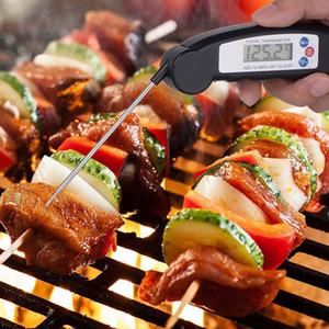 Digital LCD-Nahrungsmittelthermometer Probe Folding Küche Thermometer Grillfleisch Ofen Wasseröltemperatur Test Tool HHA1546