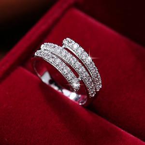 결혼식 약혼 파티 패션 여성의 보석 반지 액세서리 크기 6-9에 대한 결정 빛나는 여성 손가락 반지