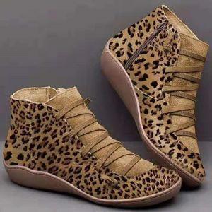 43 large size Martin boots winter new Korean version of leopard print flat bottom short tube women's boots
