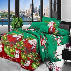 22 Christmas Bedding Set Santa Snowflake Print Duvet Cover SET 3 Pieces Santa Claus Pattern Bedding Cover Queen Size with 2