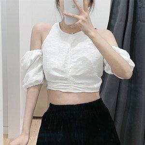 Women's Blouses & Shirts Stylish Cut Out Off Shoulder Women Half Sleeve Back Zipper White Female Casual Crop Tops Blusas
