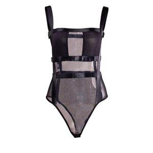 Womens Sexy durchschauen Bodysuit bloße Ineinander greifen Crop Top Backless Verband-Mesh-Bodysuit-Spielanzug Leotard Clubwear