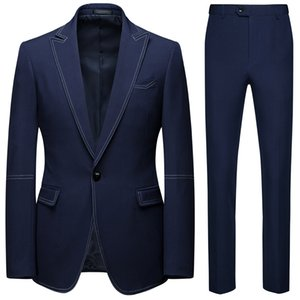 19 new casual suit 2-piece set groom and best man wedding one-button suit XF123