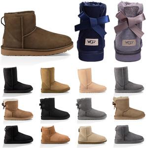 مصمم الأزياء الأحذية أستراليا إمرأة بنت حذاء الثلوج الكلاسيكية بووتي الكاحل قصيرة التمهيد الشتاء القوس الخرفان الأحذية النسائية كستنائي  3A 36-41