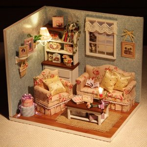 DIY Handmake Wooden Dollhouse Miniature Kit Happy Living Room With Cover Furniture Cute bedroom Model Girl Doll House Room Box Y200317