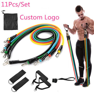 New Outdoor Sports Latex Resistance Bands Workout Exercise Pilates Yoga Crossfit Fitness Tubes Pull Rope 11 Pcs Set