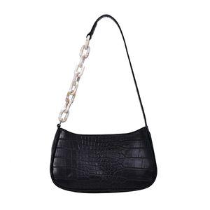 Stone retro bolsos de hombro cadena de patrones para las mujeres 2020 Sólido Cuero Color mensajero de la PU Bolsa Mujer Pequeño bolso del Baguette bolsos