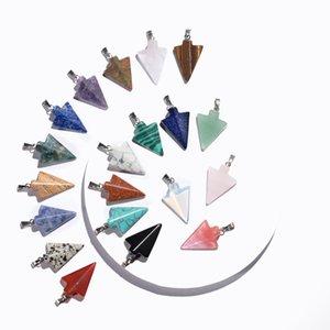 Ожерелье 12PCS Stone Arrow Head Подвески для женщин Мужчин Arrowhead Healing точка Лаки Chakra Healing Шарм Кристалл ювелирных изделий