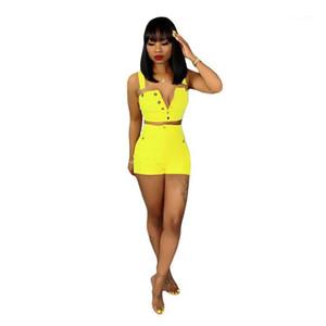 Одежда Джинсы женские костюмы Natural Color Two Piece Set моды рукавов Crop Top Короткие штаны женщин
