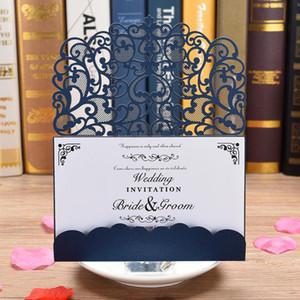 Pocketfold carte d'invitation de mariage, la mariée et le marié laser couper les cartes de voeux, invitations invitation de Quinceanera d'anniversaire carte