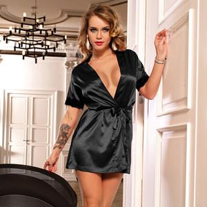 Donne sexy Notte abito di raso manica corta kimono con cintura in pizzo Backless Sopra il ginocchio sexy accappatoio