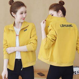 2020 осень Новый Windbreak Женщины куртка с длинным рукавом Повседневная Coat Basic Fahion Плюс Размер Короткие Женщины Пальто