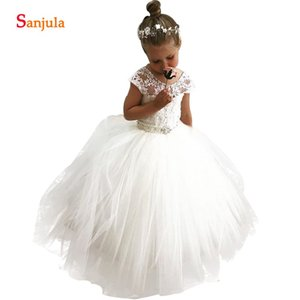 2020 Appliques Flower Girl Dresses With Pearls Beading Sash Ball Gown Ivory Kids Wedding Party Dress Children Gown SF004