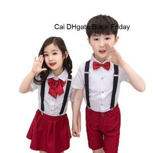 Crianças Uniforme Escolar Set Meninos Meninas Verão saia camisas do casamento Conjunto com grátis Meias Bowtie Marca formal crianças vestido de aniversário