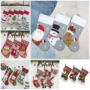 hotChristmas calcetines decorativos para la Navidad Medias ornamentos colgantes regalos de la pared cuelgan Parte decoración de interiores Suministros 9styleT2I51285