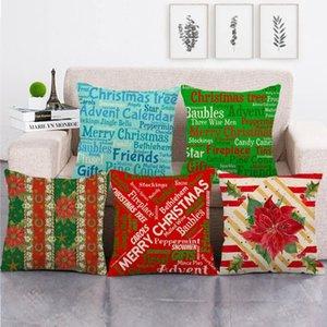 vintage Christmas design throw cushion cover linen cotton sofa pillow cover decorative pillow case