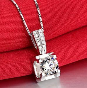 Свадебный участок Стерлингового серебра S925 3CT Moissanite Diamond Ожерелье Подвесная Серебряная Цепочка Женщины Подарок D / VSS1 Хип-хоп Pass Diamond Pen Test