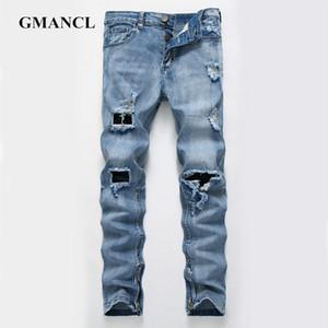 GMANCL Men Elasticity Ripped Retro Denim Pants Destroyed Slim Straight Hip Hop High Quality streetwear men trousers Biker Jeans