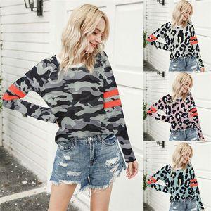 Para mujer leopardo rayada otoño camisetas O-cuello de manga larga jersey suelto camisetas femeninas de alta moda tapas ocasionales