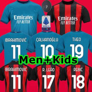 20 21 AC ميلان Maglietta دا كالتشيو IBRAHIMOVIC 11 THEO باكيتا ال120 لكرة القدم جيرسي CALHANOGLU REBIC 2020 2021 لكرة القدم قميص MEN + KIDS