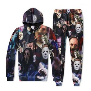 Felpe pantaloni lunghi degli insiemi 2pcs Maschi Abbigliamento Uomo Hallows Day 3D Digital Print Designer tute sportive