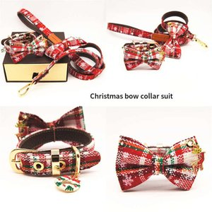 Pets Bow Collar Leash Sets Fshion Plaid Pattern Cats Dogs Collars Teddy Schnauzer Pug Outdoor Pet Leashes Pets Christmas Collar