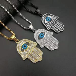 18k Нержавеющая сталь позолоченная сталь титан Ближний Восток Хамса мусульманская ожерелье ювелирных изделий, рука Фатимы кулон ожерелье, ожерелье хип-хоп
