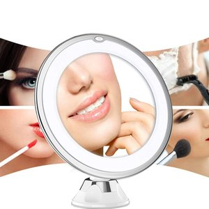 10X Magnifying Makeup Vanity Lights Mirror With Lightss Portable Dimmable LED Lighted Lighting 360°Rotation Home Tabletop Bathroom Shower crestech168