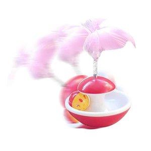 Pluma artificial Reproducción animal doméstico suministra gatito gato Rolling Home Formación con Bell vaso bola del juguete divertido Rascar interactivo