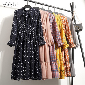 Women Casual Autumn Dress Lady Korean Style Vintage Floral Printed Chiffon Shirt Dress Long Sleeve Bow Midi Summer Dress Vestido0921