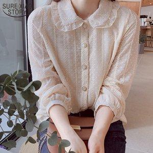 2020 Western muñeca del estilo de collar Hada blusa de la gasa de otoño de manga larga Oficina Ropa Blusas de las señoras de la camisa 10351 Y200828